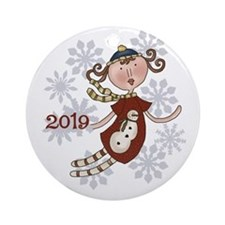 Angel Snowman 2014 Ornament (round)