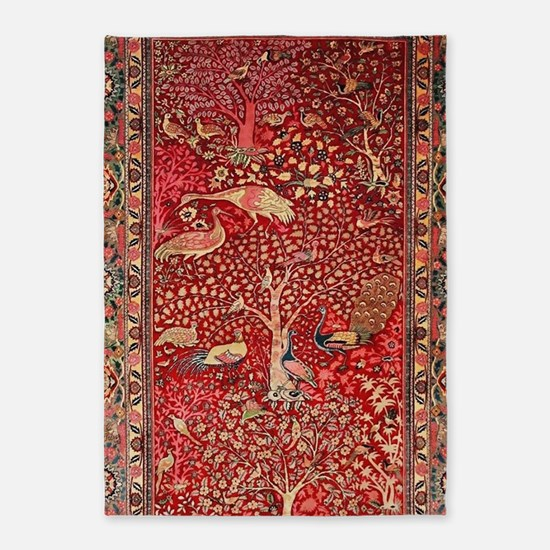 Persian Rug Birds Flowers Trees 5'x7'Area Rug
