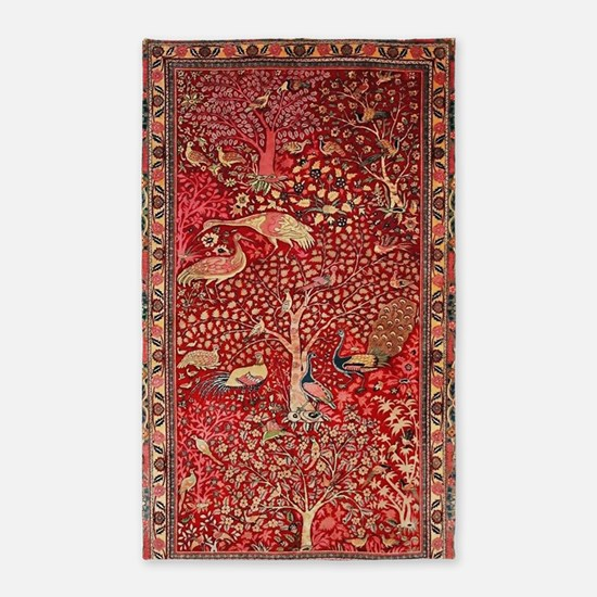 Persian Rug Birds Flowers Trees Area Rug