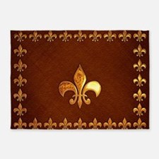 Old Leather with gold Fleur-de-Lys 5'x7'Area Rug