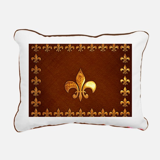 Old Leather with gold Fl Rectangular Canvas Pillow