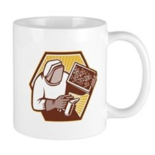 Beekeeper Apiarist Holding Bee Brood Retro Mugs