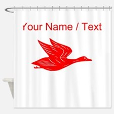 Custom Red Flying Duck Silhouette Shower Curtain