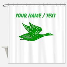 Custom Green Flying Duck Silhouette Shower Curtain