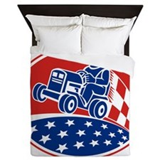Ride On Lawn Mower Racing Retro Queen Duvet