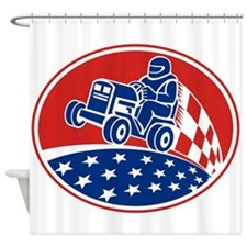 Ride On Lawn Mower Racing Retro Shower Curtain