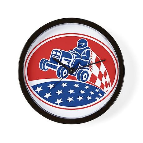 Ride On Lawn Mower Racing Retro Wall Clock