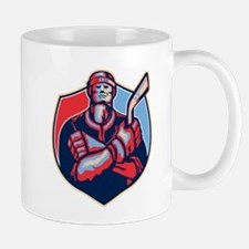 Ice Hockey Player Front With Stick Retro Mugs