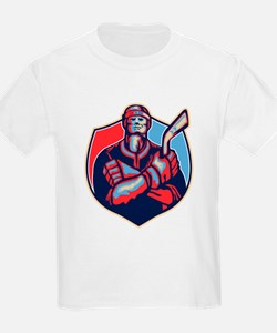 Ice Hockey Player Front With Stick Retro T-Shirt