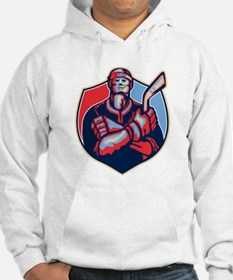 Ice Hockey Player Front With Stick Retro Hoodie