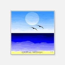 "SHORE BIRDS - SEA HORIZON - Square Sticker 3"" x 3"""