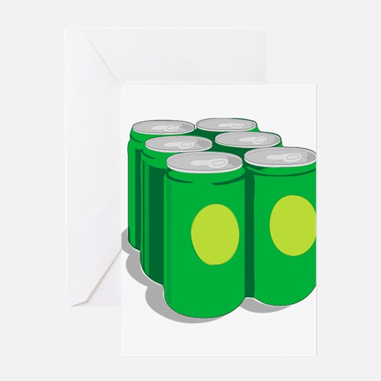 6-Pack of Soda Pop Cans Greeting Cards