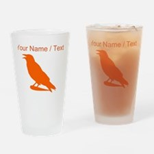 Custom Orange Crow Silhouette Drinking Glass