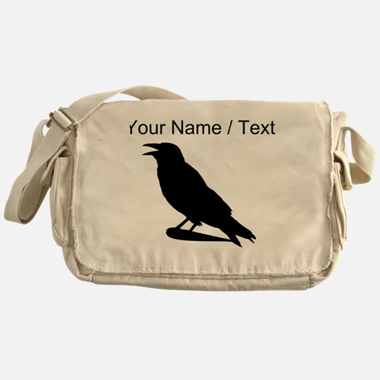 Custom Black Crow Silhouette Messenger Bag