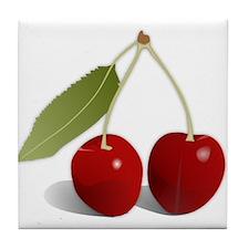 Two Cherries Tile Coaster
