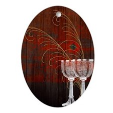 Rustic Sunset Silver Goblets Oval Ornament