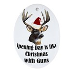 Opening day is like christmas Oval Ornament