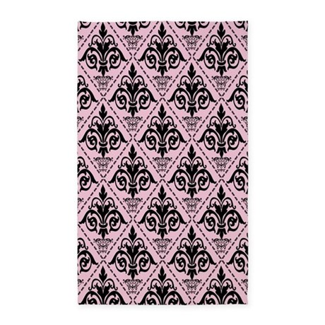 Black & Baby Pink Damask #29 3'x5' Area Rug