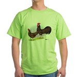 Red Leghorn Chickens Green T-Shirt