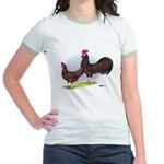 Red Leghorn Chickens Jr. Ringer T-Shirt