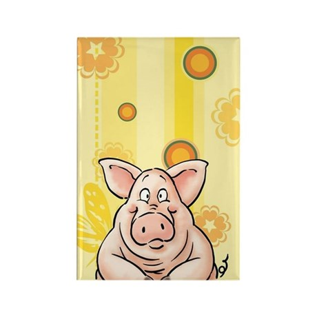 fnacy Pig, piggy Rectangle Magnet