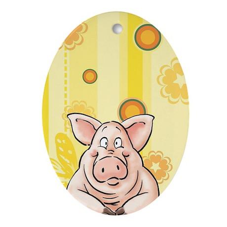 fnacy Pig, piggy Oval Ornament