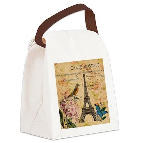 paris eiffel tower hydrangea bird Canvas Lunch Bag
