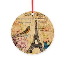 paris eiffel tower hydrangea bird f Round Ornament