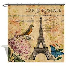 paris eiffel tower hydrangea bird f Shower Curtain