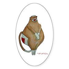 Fat Sock Monkey Oval Decal