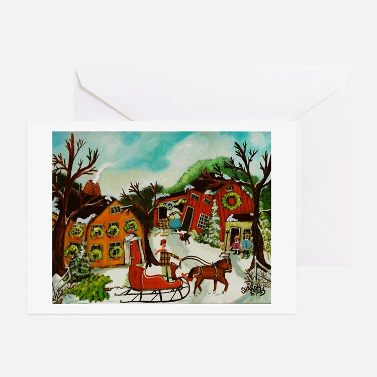Fetching the Christmas Tree Greeting Cards
