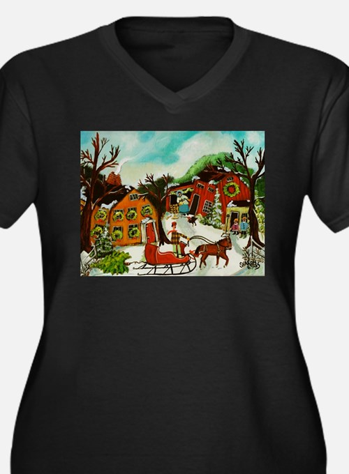 The Christmas Tree Women's Plus Size V-Neck Dark T
