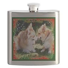 Happy Holiday Corgis Flask