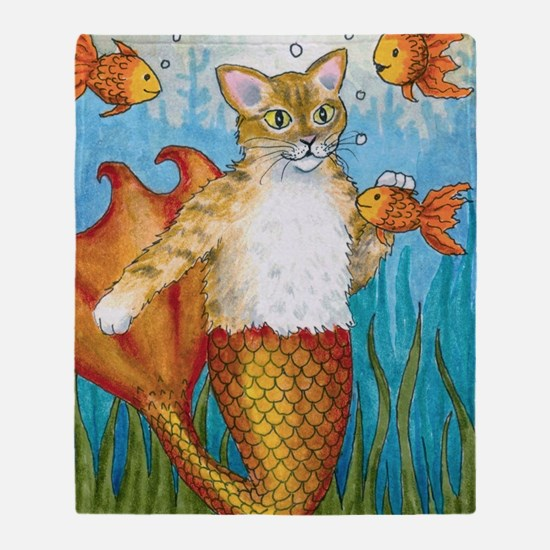Cat Mermaid 27 Throw Blanket