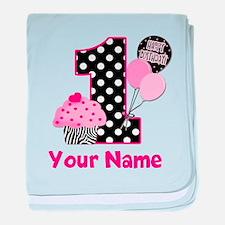 1st Birthday Zebra Cupcake baby blanket