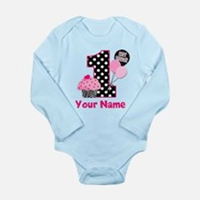 1st Birthday Zebra Cupcake Body Suit