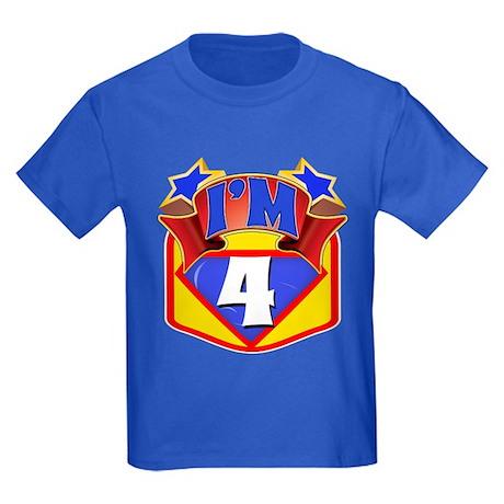 Superhero 4th Birthday Kids Dark T-Shirt
