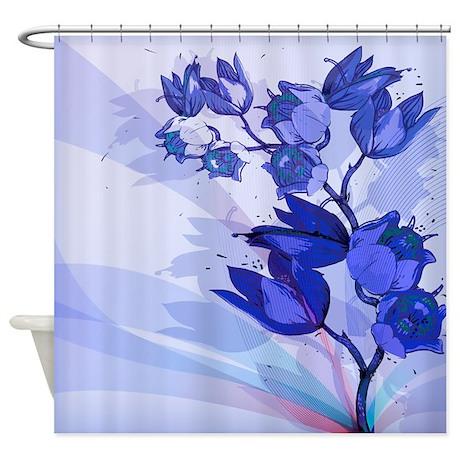 Blue Flowers Shower Curtain By Getyergoat