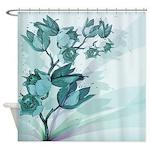 Teal Vintage Flowers Shower Curtain