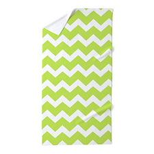 Lime Green Chevron Pattern Beach Towel