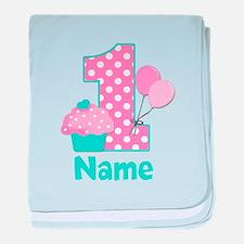 1st Birthday Cupcake Pink Blue baby blanket