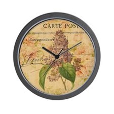 vintage purple lilac floral botanical a Wall Clock