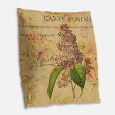 vintage purple lilac floral bo Burlap Throw Pillow