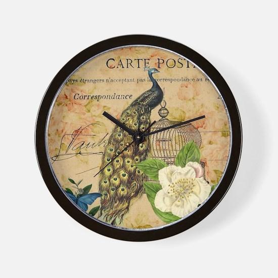 vintage elegant peacock rose butterfly  Wall Clock