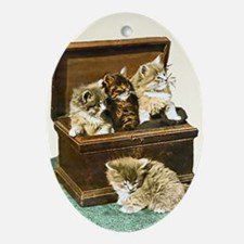 4 Cute Victorian kittens Oval Ornament