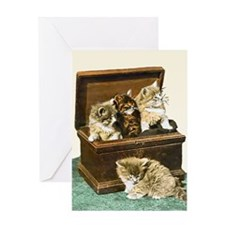 4 Cute Victorian kittens Greeting Card