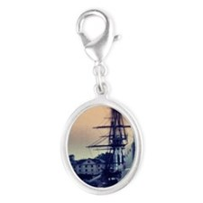 USS Constitution Silver Oval Charm
