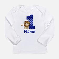 1st Birthday Lion Blue Long Sleeve T-Shirt