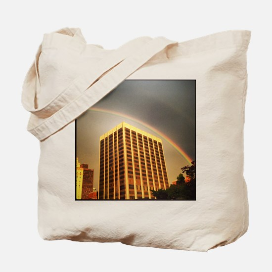 Rainbow in the city Tote Bag