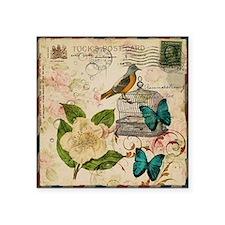 """vintage envelope floral bir Square Sticker 3"""" x 3"""""""